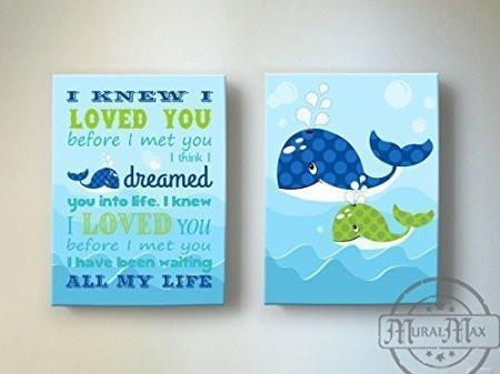 I Knew I Loved You - Nursery Inspirational Rhyme - The Whale Collection - Canvas Decor - Set of 2-B018ISKIE8