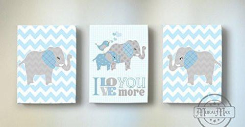 I Love You More Baby Boy Canvas Nursery Decor - Inspirational Quote - Chevron Canvas Art Decor - Set of 3