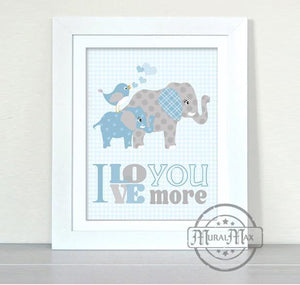 I Love You More Elephant Nursery Decor for Boys - Unframed Print-MuralMax Interiors