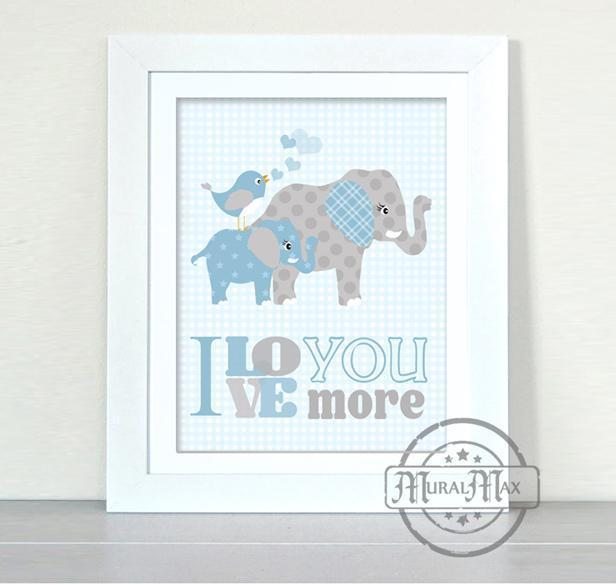 I Love You More Elephant Nursery Decor for Boys - Unframed Print