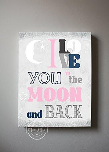 I Love You To The Moon & Back Theme - Canvas Inspirational Rhymes Collection-B019015QG2-MuralMax Interiors