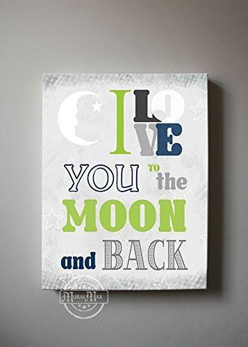 I Love You To The Moon & Back Theme - Canvas Inspirational Rhymes Collection-B01CIH9BKM-MuralMax Interiors