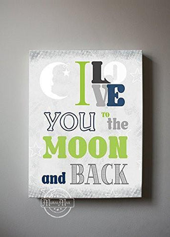 I Love You To The Moon & Back Theme - Canvas Inspirational Rhymes Collection-B01CIH9BKM