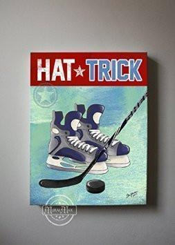 Ice Hockey Canvas Wall Art Hat Trick Boy Room Decor - Canvas Sporting Event Collection-MuralMax Interiors