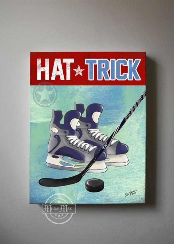 Ice Hockey Canvas Wall Art Hat Trick Boy Room Decor - Canvas Sporting Event Collection