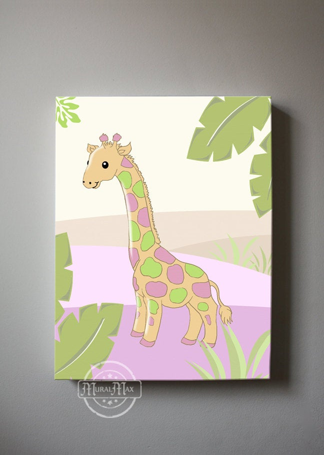 Baby Girl Giraffe Nursery Decor - Whimsical Giraffe Safari Theme - Canvas Decor-B018ISLWFC