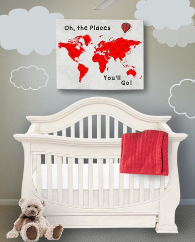 Inspirational Baby Nursery Decor - Oh The Places You'll Go - Polka Dot Global Map Theme - Canvas Dr Seuss Collection-B019018HNG