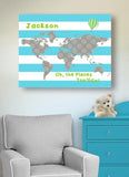 Inspirational Nursery Art - Oh The Places You'll Go - Striped Global Map Theme - Canvas Dr Seuss Collection-B019018BMI-MuralMax Interiors