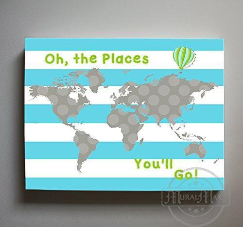 Inspirational Nursery Art - Oh The Places You'll Go - Striped Global Map Theme - Canvas Dr Seuss Collection-B019018BMI