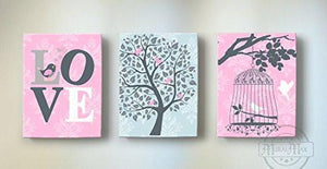 Inspirational Quote - Tree of Life & Birdcage Girl Room Decor - The Canvas Love Collection - Set of 3-B0190162YM-MuralMax Interiors