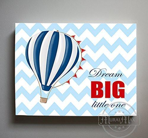 Inspirational Rhyme - Hot Air Balloon Theme - Chevron - Canvas Dream Big Little One Collection-B019018QWS-MuralMax Interiors