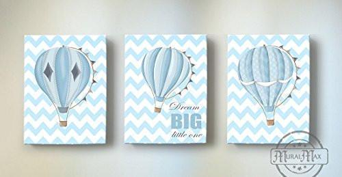 Inspirational Rhyme - Hot Air Balloon Theme - Chevron - Canvas Dream Big Little One Collection - Set of 3-B019018NRQ-MuralMax Interiors