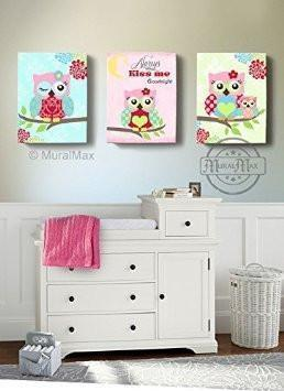 Kids Owl Art - Floral Owl Nursery Decor - Always Kiss Me Goodnight Canvas Art - Set of 3