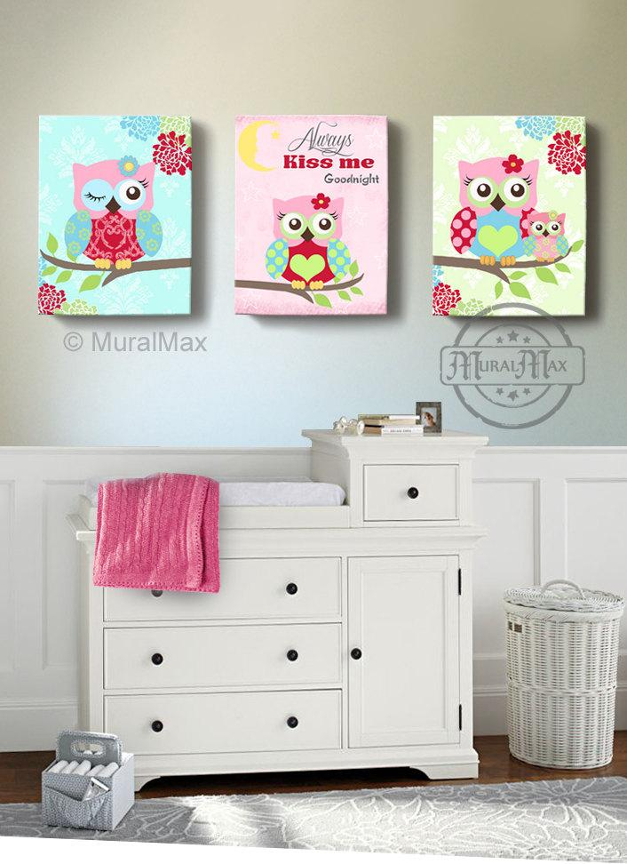 Kids Owl Art - Floral Owl Nursery Decor - Always Kiss Me Goodnight Canvas Art - Set of 3-MuralMax Interiors