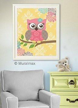 Kids Room Wall Art Modern Floral Nursery Owl Art - Unframed Print-MuralMax Interiors