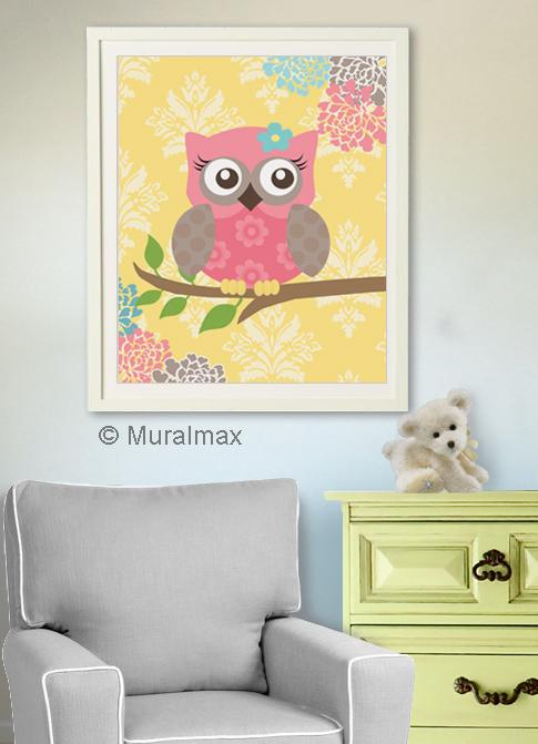 Kids Room Wall Art Modern Floral Nursery Owl Art - Unframed Print
