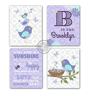 Lavender Girl Room Wall Art Personalized Polka Dot - You Are My Sunshine & Love Birds Collection - Unframed Prints - Set of 4-B018KODG4O-MuralMax Interiors