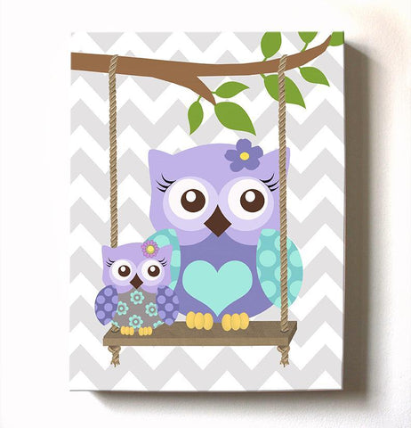 Lavender Mom & Baby Owls On Swing - Girl Room Canvas Decor -Purple Owl Nursery Art