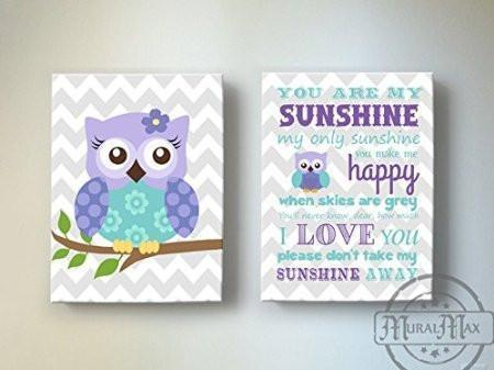 Lavender Nursery Art - Owl & You Are My Sunshine Canvas Prints - Set Of 2-Purple Aqua Art