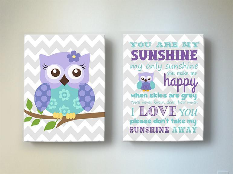 Lavender Nursery Art - Owl & You Are My Sunshine Canvas Prints - Set Of 2-Purple Aqua Art-MuralMax Interiors