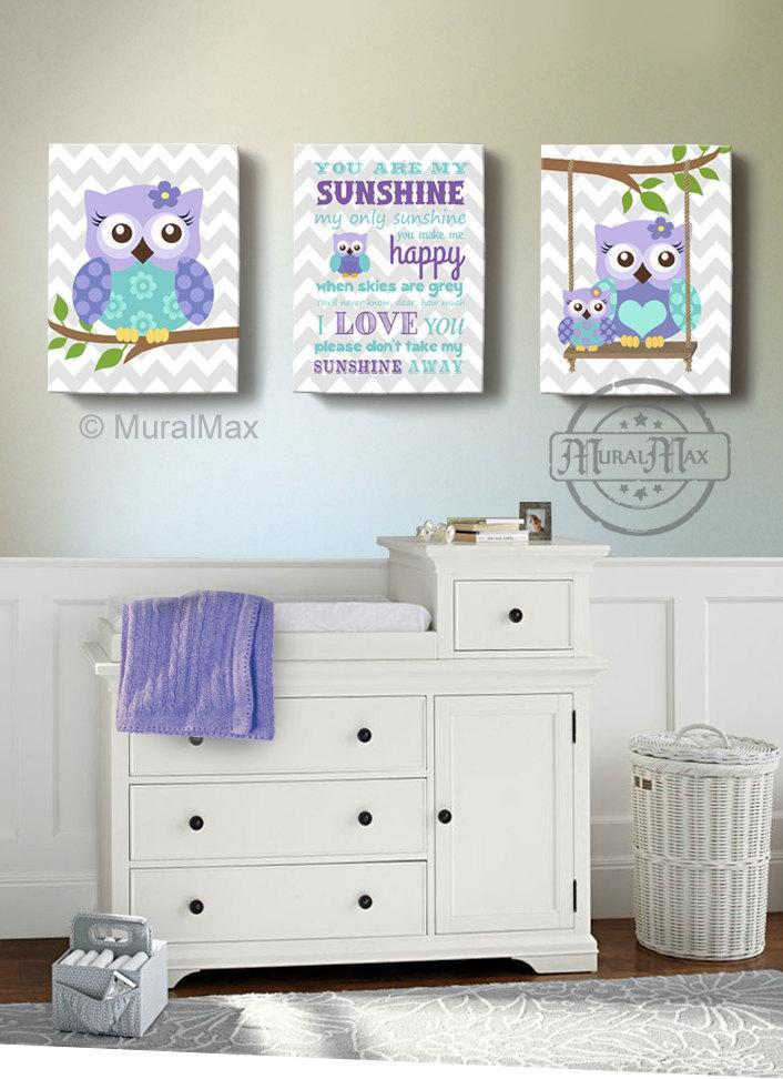 Lavender Owl Nursery Art - You Are My Sunshine & Owls Canvas Nursery Decor - Set Of 3-MuralMax Interiors
