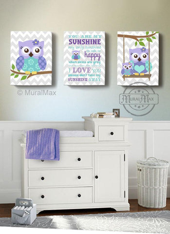 Lavender Owl Nursery Art - You Are My Sunshine & Owls Canvas Nursery Decor - Set Of 3