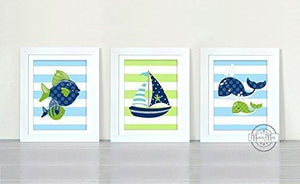 Lets Go Fishing Collection - Set of 3 - Unframed Prints-B01CRT6Z3W-MuralMax Interiors