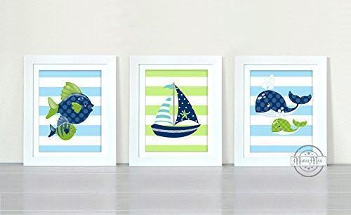 Lets Go Fishing Collection - Set of 3 - Unframed Prints-B01CRT6Z3W
