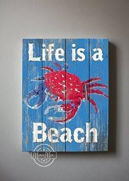 Life Is A Beach Theme - Canvas Wall Decor - The Inspirational Rhymes Collection-B018ISH0M6-MuralMax Interiors