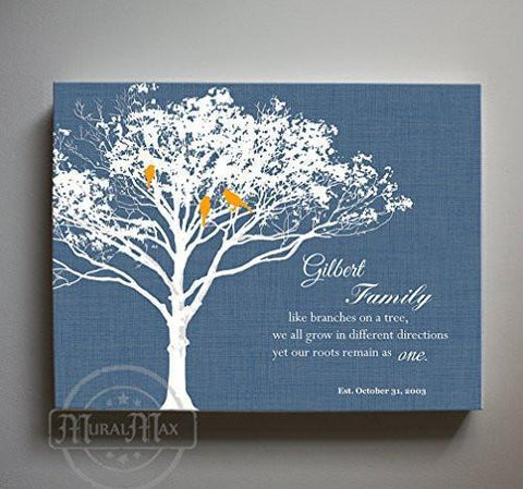 Like Branches On A Tree, Custom Name Canvas Sign, Family Tree Canvas Art- Navy # 1 - B01M11T4TV-MuralMax Interiors