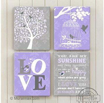 Lilac and Gray You Are My Sunshine Girl Room Decor - Canvas Home Decor -The Lovebird Collection - Set of 4-B018ISJMFE