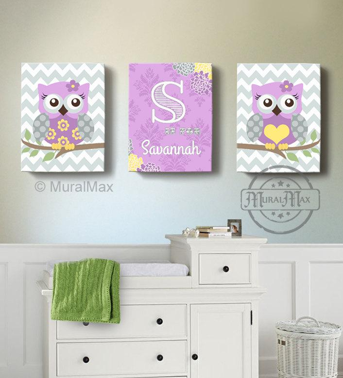 Lilac Owl Nursery Decor - Personalized Canvas Wall Art - Purple & Gray Owl Collection - Set of 3-MuralMax Interiors
