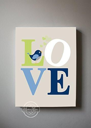 Love Baby Boy Room Decor - Inspirational Quote - The Lovebird Collection - Canvas Nursery Art Decor-B018GSYZGW