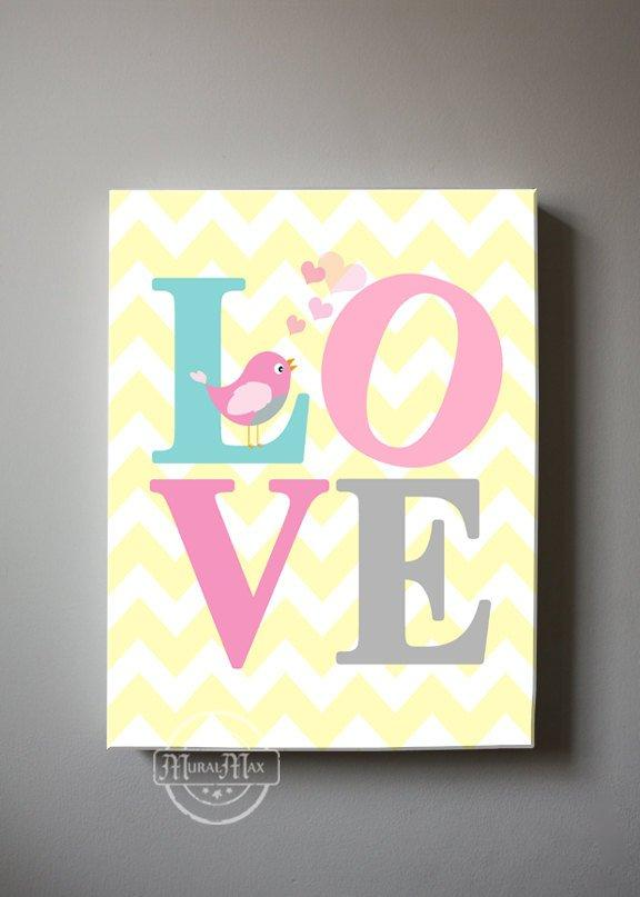 LOVE Canvas Nursery Decor - Inspirational Quote Girl Nursery Art - Pink Aqua Yellow Decor