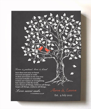 Love in Patience Family Tree Canvas Wall Art - Personalized Bible Verse Anniversary Gifts - Unique Wall Decor - Charcoal-MuralMax Interiors
