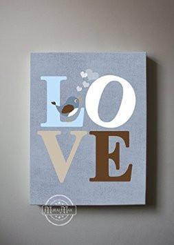 Love - Inspirational Quote - Baby Boy Nursery Art - Canvas Nursery Art Decor-B018ISLEQ4