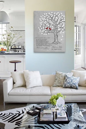 Love is Patient Love is Kind Personalized Family Tree Canvas Art- Personalized Couples Gift - Anniversary Gift - Gray-MuralMax Interiors