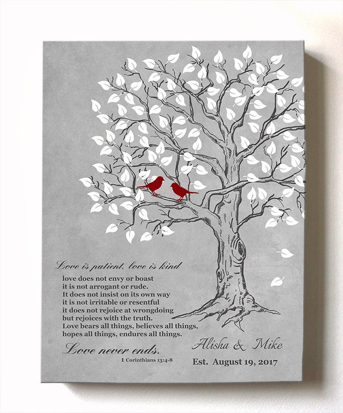 Love is Patient Love is Kind Personalized Family Tree Canvas Art- Personalized Couples Gift - Anniversary Gift - Gray