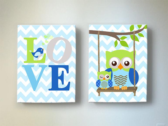 Love & Owls Nursery Art - Inspirational Quote Blue Green Chevron Canvas Art - Set of 2