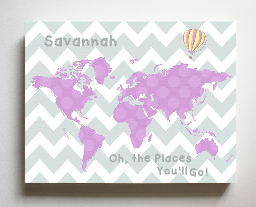 Map Nursery Wall Art - Personalized Dr Seuss Nursery Decor - Oh The Places You'll Go-B018ISNM1E-MuralMax Interiors