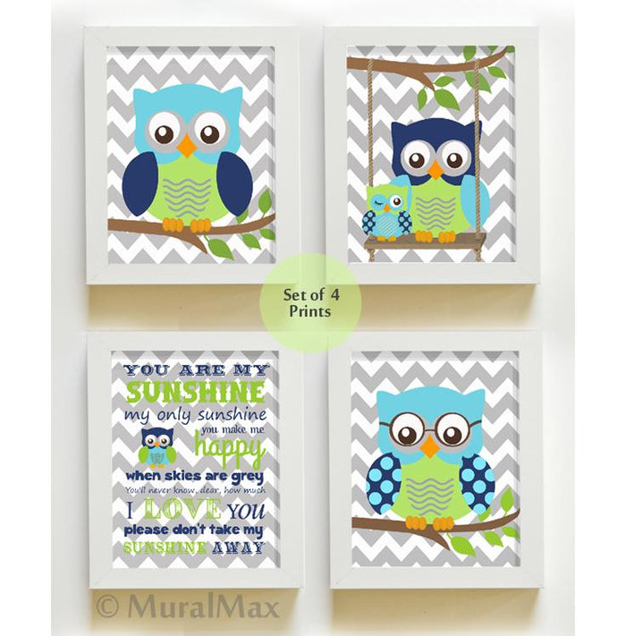 Modern Chevron Owl Nursery Art Prints - You Are My Sunshine Navy Blue Green Decor - Unframed Prints - Set of 4