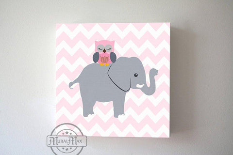 Modern Elephant Baby Girl Nursery Wall Art