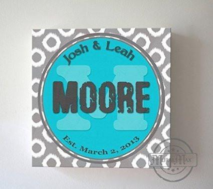 Modern Family Name & Established Date, Stretched Canvas Wall Art, Wedding & Memorable Anniversary Gifts, Unique Wall Decor, Turquoise, B018KOIQFI-MuralMax Interiors