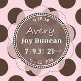 Modern Nursery Art Baby Girl Room Decor - Personalized Birth Announcements For Girl - Make Your New Baby Gifts Memorable - Color: Pink - Stretched Canvas - B018GSUXOU-MuralMax Interiors