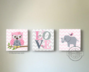 Modern Nursery Art - Elephant & Owl Baby Girl Room Decor - Love Safari Canvas Wall Art - Set of 3-MuralMax Interiors
