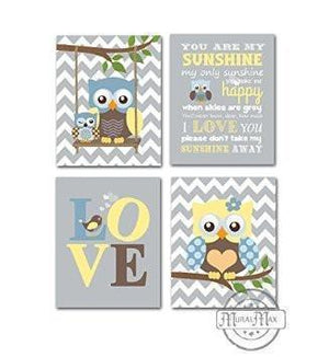 Modern Owl & Love Nursery Art - You Are My Sunshine Unisex Nursery Decor - Unframed Prints - Set of 4-MuralMax Interiors