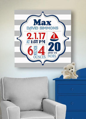 Nautical Baby Boy Birth Announcements Wall Art- Sailboat Nursery Decor - New Baby GiftsBaby ProductMuralMax Interiors