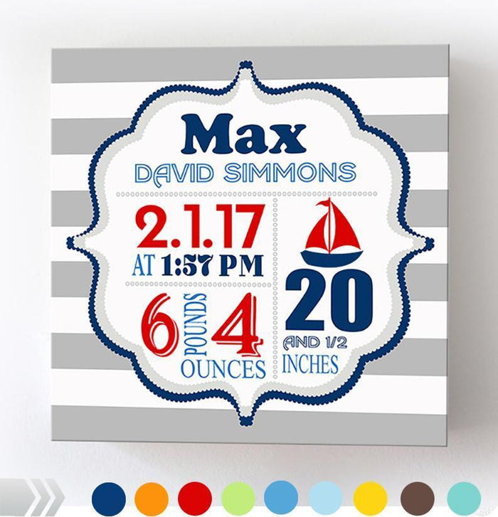 Nautical Baby Boy Birth Announcements Wall Art- Sailboat Nursery Decor - New Baby Gifts