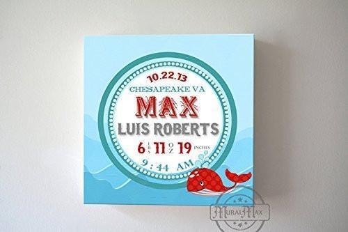 Nautical Nursery Art Baby Birth Announcements For Boy - Whale Nursery Art - Make Your New Baby Gifts Memorable - Color: Red - Canvas Art - B018GT3VFC-MuralMax Interiors