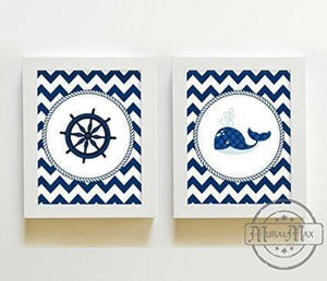 Nautical Nursery Wall Art For Boy's - Chevron Unframed Prints - Set of 2-B018KOBTFC-MuralMax Interiors